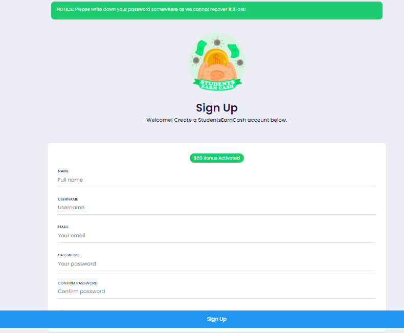 StudentsEarnCash sign up